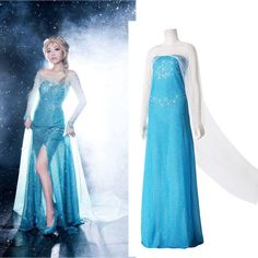 Blue Frozen Queen Elsa Costume Cosplay Adult Women Dress SIZE XXXL USA Ship USPS #GL #preppystyle #Everyday