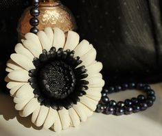 Black and white brooch leather flower by PresentPerfectStudio