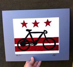 "DC Art, Bike Art, ""Bike DC"", matted in gray acidfree mat, 8x10, fits in picture frame, Fabric art, Textile art, OOAK / (Crafty B Craft Fair)"