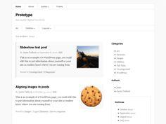 Prototype is an elegant parent theme with multiple nav menus, several widget areas, custom widgets, and per-post layouts.
