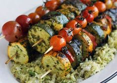 Chermoula Veggie Kebabs with Halloumi Cheese