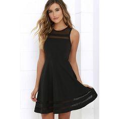 Final Stretch Black Dress (140 BRL) ❤ liked on Polyvore featuring dresses, stripe dresses, sheer dress, mesh dress, striped dress and stretchy dresses