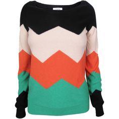 Sonia Rykiel Zig Zag Sweater ($460) ❤ liked on Polyvore
