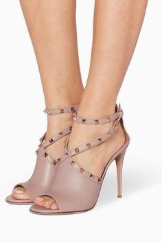 5fb95ef7c25 Shop Valentino Neutral Light-Beige Rockstud Sandals for Women