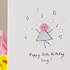 Personalised 'Dancing Button' Handmade Birthday Card