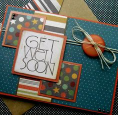 Masculine Get Well Soon Card with Matching by SewColorfulDesigns