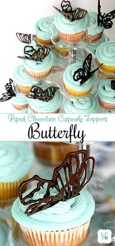 Little girl's garden themed birthday party with chocolate piped butterfly cupcake toppers, pom-pom & streamer decorations, food ideas and sweet fresh flower ice-cream sundae craft take-home favor