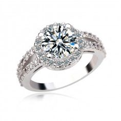 Lady's Gorgeous White Gold Plated Ring With Cubic Zirconia Inlaid - USD $26.95