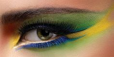 Brazil, creative eye makeup with green and yellow..lovin those colors rite now!