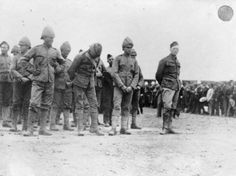 """""""As a war correspondent for the Morning Post, Winston Churchill was captured by the Boers while travelling in an armored train which was wrecked. Picture shows: A group of prisoners, with Churchill on the right"""", 1899 British Soldier, British Army, Prisoners Of War, Winston Churchill, African History, World War I, Military History, Marine Corps, Usmc"""