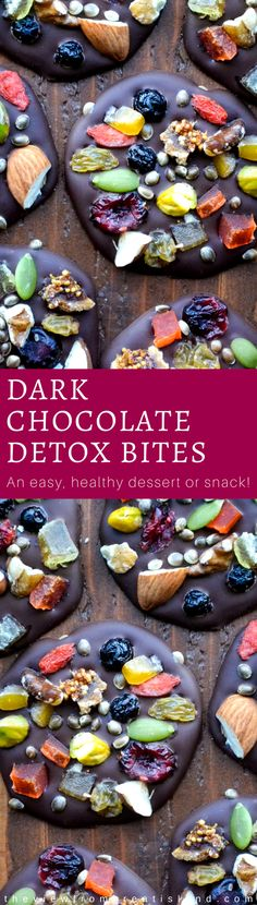 Dark Chocolate Detox Bites are the healthy way to do dessert, with anti-oxidant rich dark chocolate topped with fruits, nuts, and seeds ~ and they're just as pretty as they are delicious! #darkchocolate #healthydessert #chocolate #candy #detox #superfoods #snack #dessert #candy #homemadecandy #mendiants
