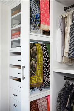 Every item in your closet should be visible. The best way to store scarves is on a pull out rack so you can see them all. We really love this one Lisa Adams designed for Giuliana Rancic.