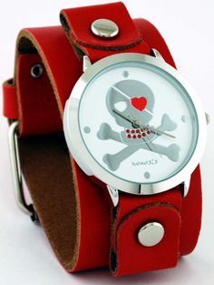 Nemesis Women's Red Leather Band with Round Skull Watch Case, (day of the dead, dia de los muertos, psychobilly, nemesis, star, tattoo, watches)