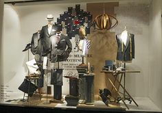 the fabric samples, pinned by Ton van der Veer Retail Windows, Store Windows, Fashion Retail Interior, Suit Stores, Clothing Store Displays, Made To Measure Suits, Visual Display, Fabric Samples, Visual Merchandising