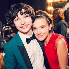 "strangerthingscast: """"Millie Bobby Brown and Finn Wolfhard of Stranger Things photographed together at the 2017 Screen Actors Guild awards for People Mag/AP. (by colinyoungwolff) "" "" Sweet photo ❤️"