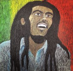 My art project of Bob Marley, oil pastels on black paper