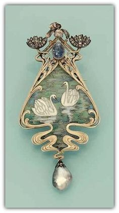 AN ART NOUVEAU ENAMEL AND GEM-SET PENDANT/BROOCH, BY ROBERT KOCH  -  Designed as a pliqué-a-jour enamel scene of two swans on water, the surmount designed as diamond-set waterlilies, an iris and an oval sapphire, and supporting a drop-shaped grey pearl, circa 1900.