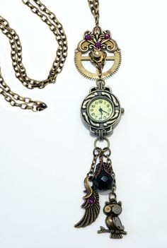 Victorian, Boho Watch Pendant Necklace.  Owls & Gears!  This very special watch necklace starts off with an old gear from an Antique German