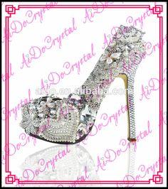 Aidocrystal 2015 luxury white clear color handmade glitter wedding bridal  rhinestone high heels 6c80ca9f7528