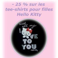 -25% de réduction sur les tee-shirt pour filles Hello kitty!