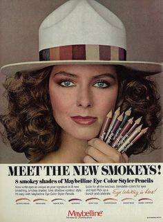 1979 Cosmetics Ad, Maybelline Smokey Eye Color Styler-Pencils, with Pretty Brunette Model (Possibly Sela Ward)
