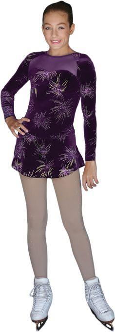 Skating Dresses-girls Sporting Goods Chloe Noel Purple Sparkle Skating Dress Adult Extra Small