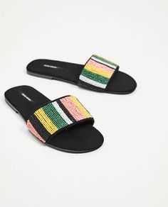 ZARA - WOMAN - FLAT BEADED SLIDES
