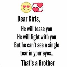 That's a Brother Tag-mention-share with your Brother and sister 🧡💛💚💙💜 Follow 💜 @bsbf_page Follow 💙 @bsbf_page Follow 🧡 @bsbf_page Brother N Sister Quotes, Brother And Sister Relationship, Sister Quotes Funny, Brother And Sister Love, Funny Attitude Quotes, Cute Quotes For Life, Crazy Girl Quotes, Rakhi Quotes, Funny True Facts