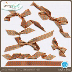 Oh My Ribbons 16 :: Elements :: Commercial Use :: Gotta Pixel  Digital Scrapbook Store by Bekah E Designs  $4.50