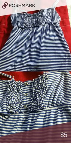 Blue and white stopped tank top A really cute blue and white tank top with crystal button and silver detailing in the stripes. Really cute for summer lightly worn. INC Tops