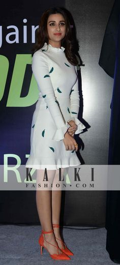 Parineeti Chopra: The bubbly Btown diva was seen swaying like a Fashionista in this chic white dress with green print at an event recently