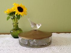 Unusual Vintage Covered Glass Bowl or Dish by RiverRunCollection