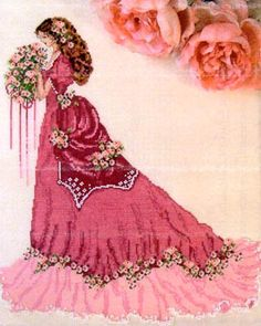 Cross stitch; Lady of  Roses, I wish I could draw like this let alone cross stitch like this!