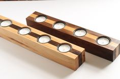 Hickory Walnut Wood Tealight Candleholder Candles Country Primitive Natural Upcycled Reclaimed