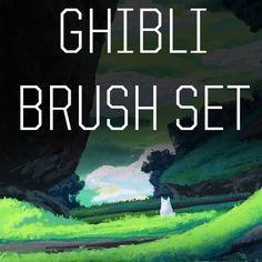 M_Zamecki_Brush_set Ghibli Brush Set (free) - Mathias Zamęcki on Gumroad Digital Art Tutorial, Digital Painting Tutorials, Painting Tools, Art Tutorials, Drawing Tutorials, Art Studies, Anime, Studio Ghibli, Brush Set