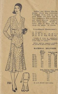1920s Misses Dress: Slip on dress, waist has collarless V shaped neck with an applied front and jabot. Cut in one, removable belt and long and short sleeves. Attached four piece skirt.