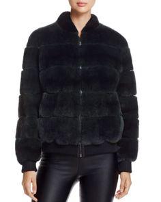 Womens Rabbit Fur with leather and Kinitting Rib Jacket