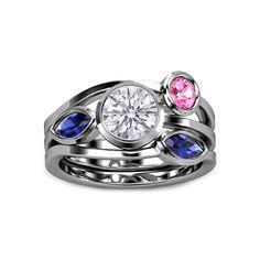 Round Diamond Vine Engagement Ring with Bezel Set Sapphires