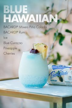 Whether you're hosting a luau or simply soaking in the summer, the Blue Hawaiian combines the best of both worlds: creamy coconut and sweet citrus! All you need are BACARDI® Mixers Pina Colada, blue curaçao, and your favorite rum—plus pineapple and cherri Blue Hawaiian Drink, Hawaiian Cocktails, Fun Cocktails, Cocktail Drinks, Cocktail Recipes, Alcoholic Drinks, Hawaiian Luau, Hawaiian Parties, Beverages