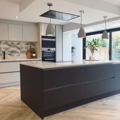 So happy with our finished kitchen renovation works. So happy with the wren kitchen and amtico flooring and sliding doors from express bifolds. Small Kitchen Diner, Emma's Kitchen, Wren Kitchen, Small Modern Kitchens, Modern Kitchen Island, Kitchen Islands, Open Plan Kitchen, Kitchen Interior, Kitchen Ideas