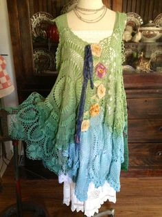 Luv Lucy Crochet Dress Lucy's Where the Grass by LuvLucyArtToWear, $225.00