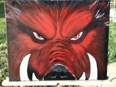 Hand painted Razorback on stretch canvas. by Hop2itCreations, $75.00 Pig Illustration, Illustrations, Woo Pig Sooie, Painted Rocks, Hand Painted, Pig Drawing, Arkansas Razorbacks, Coolers, Watercolor Print
