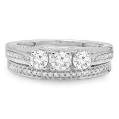Elora 14k White Gold 1ct TDW Round Diamond 3-stone Bridal Ring Set
