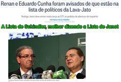 A Lista de Schindler, melhor dizendo a Lista de Janot ➤ http://oglobo.globo.com/brasil/renan-eduardo-cunha-foram-avisados-de-que-estao-na-lista-de-politicos-da-lava-jato-15490277 - 2015 03 03