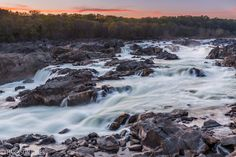 Great Falls National Park during tonight's sunset [1950x1300] [OC]