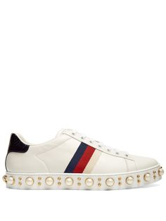 Gucci New Ace faux-pearl embellished leather trainers