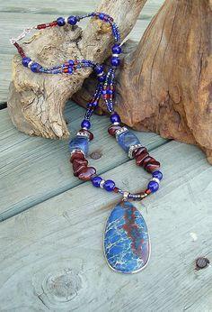 Chunky Blue Stone Necklace Southwest Necklace by BohoStyleMe