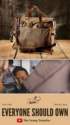 The ONE travel bag EVERYONE should own People are always asking me as a constant traveler what the best duffel bag is. IMO it's any bag made by Filson, and j. Tactical Packs, Waxed Cotton Jacket, Waxed Canvas, Leather Accessories, Duffel Bag, Briefcase, Travel Bag, Bag Making, Messenger Bag