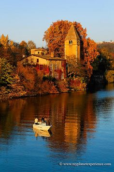 Autumn on Île Barbe, an island in the middle of the Saône river, near Lyon - France.