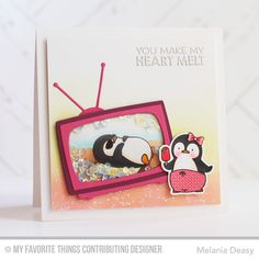 Penguins in Paradise stamp set and Die-namics, Television Die-namics - Melania Deasy #mftstamps